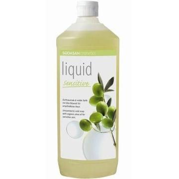 Mydło oliwkowe w płynie – Sodasan. Do stosowania zarówno na twarz, jak i cale ciało.