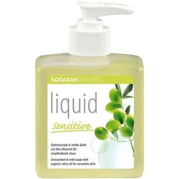 Mydło oliwkowe w płynie 300 ml - SODOSAN. Idealne dla suchej i wrażliwej skóry.