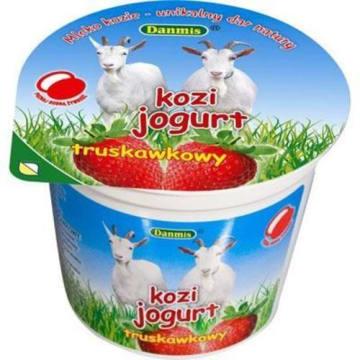 Jogurt kozi o smaku truskawkowym 125g - Danmis. Zdrowa i pyszna przekąska.