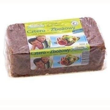 Chleb pełnoziarnisty Mestemacher, czterozbożowe pieczywo z siemieniem lnianym.