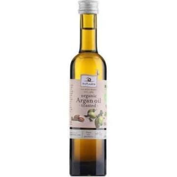 Olej arganowy – Bio Planete. Ma ciekawy orzechowy aromat, który nadaje charakteru potrawom.