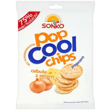 Sonko Pop Cool - Chipsy popcornowe cebula i ser. Zdrowsza alternatywa dla zwykłych chipsów.