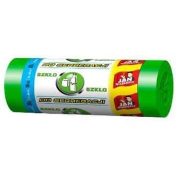 Zielone worki do segregacji 35l – Jan Niezbędny niezbędne do segregacji szkła białego i kolorowego.