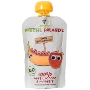 Mus z jabłek, bananów i malin 100g ERDBAR. Zdrowy, owocowy deser dla dzieci i dorosłych