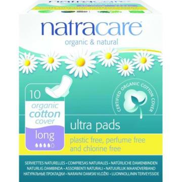 Podpaski ze skrzydełkami Ultra Long Bio - Natracare. Cienkie i komfortowe, z naturalnych składników.
