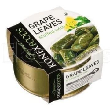 Liście winogron z ryżem - Konex Foods. To bezmięsny zamiennik tradycyjnych gołąbków.