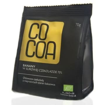 Banany w surowej czekoladzie BIO COCOA 70g. Słodki rarytas dla prawdziwych koneserów.
