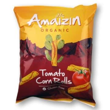 Kukurydziane chipsy pomidorowe – Amaizin. Są niekalorycznym zamiennikiem dla zwykłych chipsów.