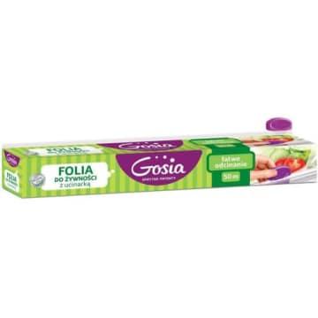 Gosia - folia do żywności 50m z ucinarką. Odcinanie folii na dowolny rozmiar jest łatwe i przyjemne.