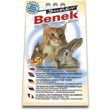 Żwirek zbrylający - Super Benek to produkt o naturalnym zapachu glinki. Skutecznie pochłania płyny.
