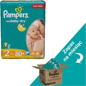 Pieluchy rozm. 2 - Pampers New Baby gwarantują suchość do 12 godzin.
