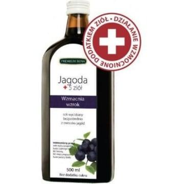 Sok bezpośrednio wyciskany z jagód - Premium Rosa. Zdrowy i orzeźwiający smak.