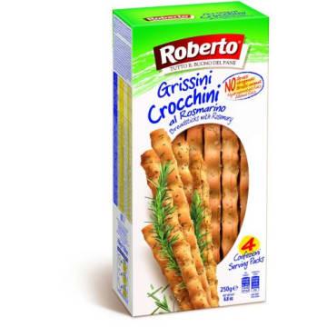 Grissini Crocchini grube paluszki z solą i rozmarynem - Roberto. Rewalacyjny smakołyk dla miłośników słonych przekąsek.