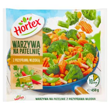 Warzywa na Patelnię - Hortex. Opakowanie warzyw 450 g, dodają unikalnego smaku każdej potrawie.
