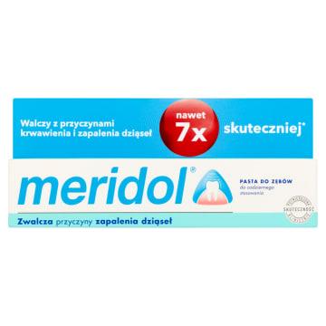 Pasta do zębów Meridol pomaga chronić zęby i dziąsła przed szkodliwymi czynnikami zewnętrznymi.