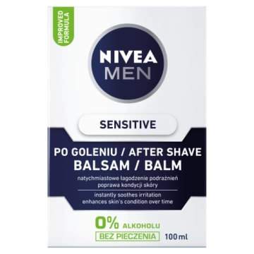 Balsam po goleniu Sensitive - Nive Men. Natychmiast łagodzi i nawilża skórę po gloeniu.