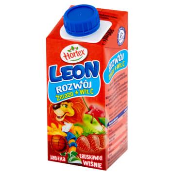 Hortex Leon - Napój jabłkowo-truskawkowo-wiśniowy. Zdrowy sok dla dzieci w każdym wieku.