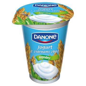 Danone - jogurt naturalny z ziarnami zbóż 175g. Wyprodukowany w 100% z polskiego mleka.