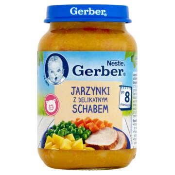 Gerber - Obiadek jarzynki z delikatnym schabem po 8 miesiącu. Danie przeznaczone dla dzieci.