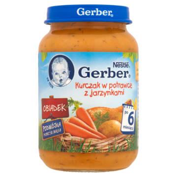 Gerber Obiadek Kurczak w potrawce z jarzynami po 6 miesiącu - zbilansowane źródło białka i witamin.