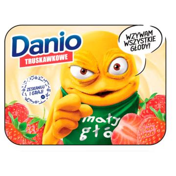 Danone Danio - Serek truskawkowy. Świetnia przekąska dla dzieci i osób dorosłych.