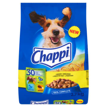 Sucha karma dla psów z drobiem-Chappi to pełnowartościowy posiłek.