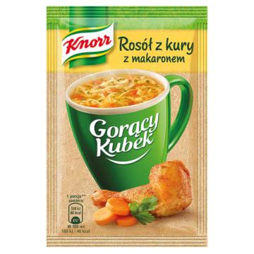 KNORR Gorący Kubek Rosół z kury z makaronem - aromatyczna zupa gotowa w kilka minut