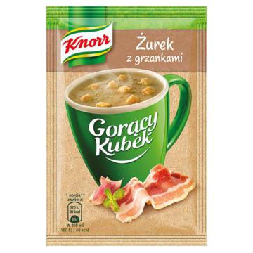 Knorr - Gorący Kubek Żurek z grzankami. Pozwala pozbyć się uczucia głodu.