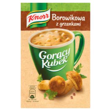 Knorr – Gorący Kubek Krem borowikowy z grzankami to delikatna zupa z suszonymi grzybami.