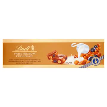 Czekolada Milk Raisins Hazelnut- Lindt Gold.  Zachwyca doskonałym smakiem i prezentowym formatem.
