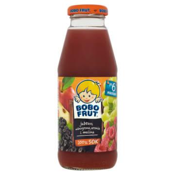 Bobo Frut - jabłko, winogrona, malina, aronia - sok owocowy bez konserwantów bogaty w wartości odżywcze.