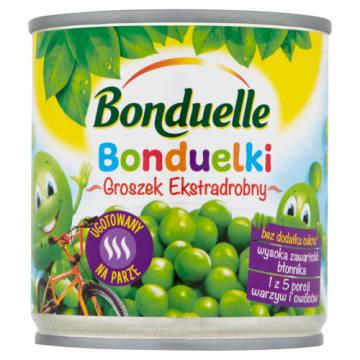 Groszek drobny Bonduelle o przyjemnym smaku, zapakowany w kolorowe opakowanie.