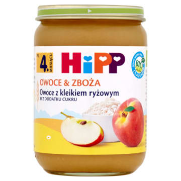Hipp - Kleik ryżowy z owocami po 4 miesiącu. Pełnowartościowy posiłek dla najmłodszych.