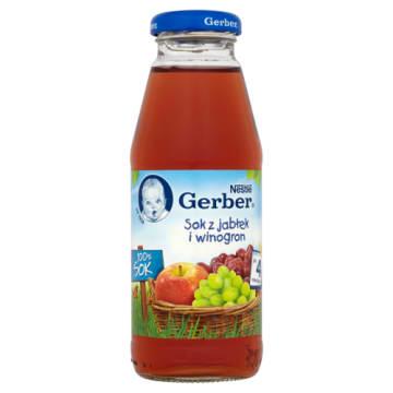 Gerber - Sok z jabłek i winogron - Po 4 miesiącu 300ml. Gwarancja na zadowolenie dzieci.