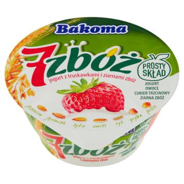 Jogurt z truskawkami i ziarnami - Bakoma. Truskawkowy jogurt z mieszanką 7 zbóż.