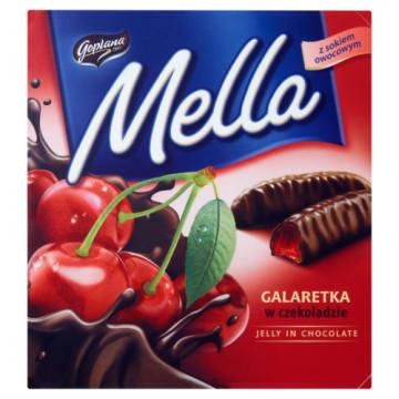 Galaretka w czekoladzie o smaku wiśniowym - Jutrzenka. Słodki przysmak odświeża owocowym aromatem.