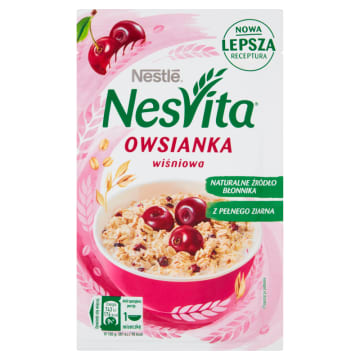 Nestlé NesVita - Płatki owsiane z mlekiem i wiśniami. Owocowo mleczne śniadanie.