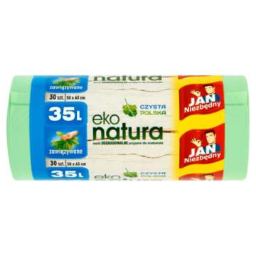 Worki na śmieci Eko Natura - Jan Niezbędny z możliwością wygodnego zawiązywania.