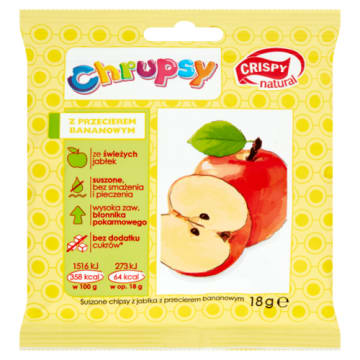 Plasterki jabłka o smaku bananowym 20g-Crispy Natural. Połączenie naturalnej gamy smaków i witamin.