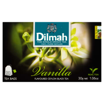 Herbata waniliowa w torebkach - Dilmah. Aromatyczny napój dla konserów.