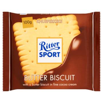 Czekolada mleczna z herbatnikiem - Ritter Sport. Stanowi doskonały pomysł na podwieczorek.