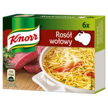 KNORR Rosół wołowy - 6 kostek 60g - uniwersalny, do przygotowania bulionów i sosów.