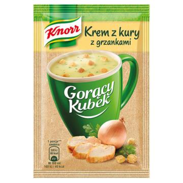 Knorr Gorący Kubek - Krem z kury z grzankami to pomysł na błyskawiczną zupę która nasyci nagły głód.
