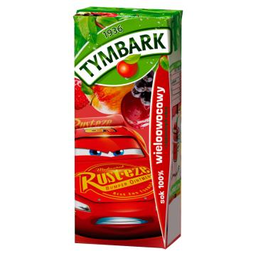 Tymbark Sok 100% Wieloowocowy wyprodukowany z soków zagęszczonych.