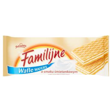 Wafle Familijne o smaku śmietankowym - Jutrzenka. Pyszne wafelki do chrupania.