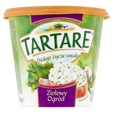 Serek twarogowy Ziołowy Ogród Tartare zawiera oregano, tymianek, bazylię i rozmaryn.