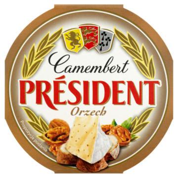 Ser Camembert - President. Kremowy ser Camembert z dodatkiem orzechów włoskich.