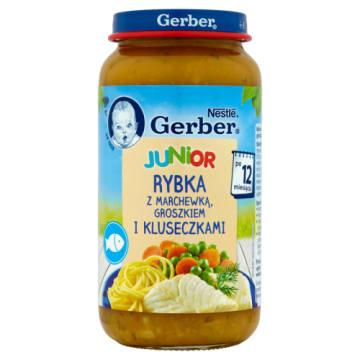 Gerber DoReMi - Obiadek po 1 roku. Ryba z marchewką, groszkiem i kluseczkami.