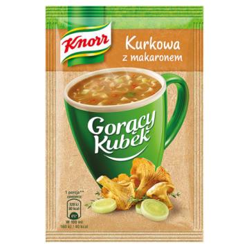 KNORR-Gorący Kubek-Kurkowa z makaronem 13g. Pyszna zupa gotowa do spożycia w kilka minut.