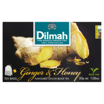 Dilmah - herbata imbirowo-miodowa, 20 torebek. Ma pikantny posmak.